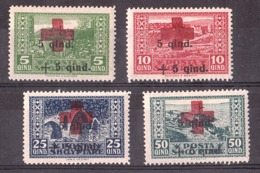 Croix- Rouge - Albanie - 1924 - N° 140 à 143 - Neufs ** - Timbres Surchargés - Rotes Kreuz