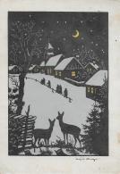 AK 0022  Weihnachten ( Künstlerksrte ) - Scherenschnitt Von Josefine Allmayer Um 1950 - Scherenschnitt - Silhouette