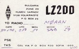 Bulgarian Amateur Radio QSL Card LZ2DD Polikraiste Bulgaria 1996 - Radio Amateur