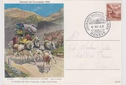 SUISSE 1942:  Carte 'Journée Du Timbre 1942' Du 4.XII.42 De Genève à Sion - Storia Postale