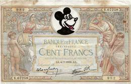 Walt Disney Mickey Dessin Sur Billet De Banque - Other