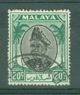 Malaya - Selangor: 1949/55   Sultan Hisamud-din Alam Shah   SG101    20c   Black & Green   Used - Selangor