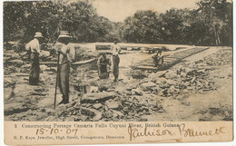 British Guiana Guyana  Constructing Portage Camaria Falls Cuyuni River  Edit Kaps  P. Used Georgetown To Cuba - Cartes Postales