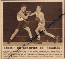DOCUMENT, BOXE, CHERIF HAMIA - DICK MARTINEZ, GOLDEN GLOVES, CHICAGO, COUPURE REVUE (1953) - Autres