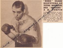 DOCUMENT, BOXE, CARL BOBO OLSON FACE A RANDOLPH TURPIN, CHAMPIONNAT DU MONDE DES POIDS MOYENS, COUPURE REVUE (1953) - Autres