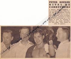 DOCUMENT, BOXE, PETER KEENAN- MAURICE SANDEYRON, GLASGOW, CHAMPIONNAT D'EUROPE DES POIDS COQS, COUPURE REVUE (1953) - Boxing