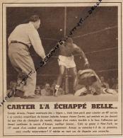 DOCUMENT, BOXE, JIMMY CARTER - GEORGE ARAUJO, NEW-YORK, CHAMPIONNAT DU MONDE DES LEGERS, COUPURE REVUE (1953) - Boxing