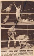 DOCUMENT, BOXE, LOU SKENA - YOUNG MARTIN, MADRID, CHAMPIONNAT D'EUROPE DES POIDS MOUCHES, COUPURE REVUE (1953) - Boxing