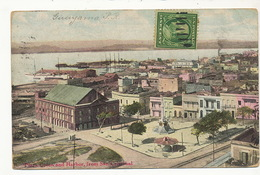 Guayama Plaza Colon And Harbor . P. Used Guayama  To Cuba Light Crease Top Right Corner - Puerto Rico