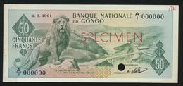 °°° SPECIMEN CONGO 50 FRANCS 1961 °°° - Congo