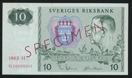 °°° SPECIMEN SWEDEN 10 KRONER 1963 UNC °°° - Svezia