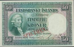 °°° SPECIMEN ICELAND 50 KRONUR 1956 °°° - Islande