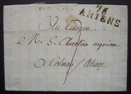 Amiens L'an 9 Marque 76 Amiens Sur Une Lettre Pour Colmar (Alsace) - Marcophilie (Lettres)