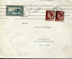 37647 Morocco (brit.) Cover Circuled 1937 From Larrache/rabat  1937, Morocco Agencies, Brit.post Office Larrache - Morocco Agencies / Tangier (...-1958)