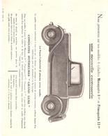 RENAULT :- Prospectus Cocernant Les Modèles MONAQUATRE Et PRIMAQUATRE - Old Paper