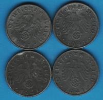 DEUTSCHES REICH LOT 4 X 5 REICHSPFENNIG 1941 A+D+F+G KM# 100 Svastika - [ 4] 1933-1945 : Troisième Reich
