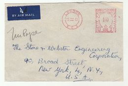1949 Air Mail  GB COVER  METER Stamps  1/0 U31 London EC3 To USA Airmail Label - 1902-1951 (Kings)