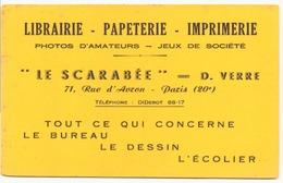 Buvard  ( 21 X 13.5 Cm ) Le Scarabée , Librairie-papeterie-imprimerie ( Pliures, Rousseurs ) - Stationeries (flat Articles)