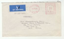 1949 Air Mail  GB COVER  METER Stamps  1/0 U551 London EC3 To USA Airmail Label - 1902-1951 (Kings)