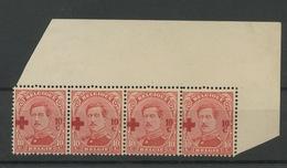 1918,  Belgique Albert 1er  10c. Croix-Rouge, Variétés,153 ** En Bande 4, Cote 44,- €, - 1915-1920 Albert I