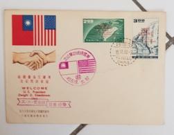 """TAIWAN, Mains, Main, Hand, Mano,""""Welcome U.S.President Dwight D. Eisenhower 1960"""" 2 Valeurs Sur Lettre - 1945-... République De Chine"""