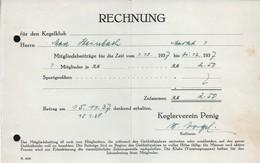 B6486 - Penig - Rechnung Quittung - Kegelverein Max Steinbach - Allemagne