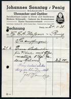 B6490 - Penig - Rechnung Quittung - Uhrmacher Optiker Johannes Sonntag - Allemagne