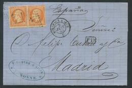 Lettre France 1862 Emission Empire Napoléon III Dentelé 40c Orange Pair No23. Bordeaux à Irun-BI Ambulant Baton-à Madrid - 1862 Napoléon III