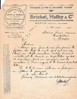 1920 - REVIN (08) - Fonderie De Fer - BRICHET, MATHY & Cie - Documents Historiques
