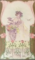 Art Nouveau // Embossed - Prage - Relief // Beautifull Woman No 2 // 1899-1902 - Voor 1900
