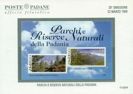 ERINNOFILIA-VIGNETTE ERINNOFILE-POLITICA-ITALIA FEDERALE -29° EMISSIONE-BF PARCHI E RISERVE NATURALI DELLA PADANIA - Erinnofilia