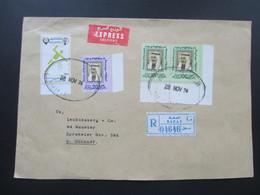 State Of Kuwait 1976 Einschreiben R Zettel Safat Nach Münster. Eckrandstück Und Olympic Games 1976. Express Delivery - Kuwait