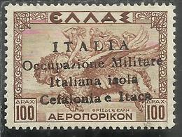 CEFALONIA E ITACA 1941 MITOLOGICA DRACME 100D MNH FIRMATO SIGNED - 9. Occupazione 2a Guerra (Italia)
