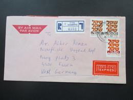 Israel 1982 Luftpost / Einschreiben Nahariyya 1 Express. Viele Stempel Nach Essen Gesendet - Lettres & Documents