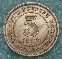"Malaya And British Borneo 5 Cents, 1958 Mintmark ""H"" - Heaton, Birmingham - Malaysie"
