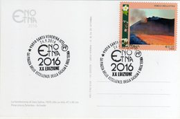 Italia 2016 ENO ETNA Eccellenze Della Sicilia E Dell'Etna Vini Annullo Santa Venerina (CT) Cartolina Dedicata - Vini E Alcolici