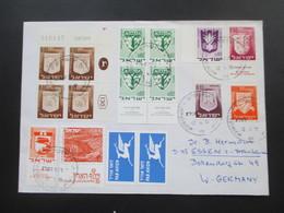 Israel 1973 Luftpostbrief Nach Essen Mit Vielen Marken! 1x Eckrand Und Etl. Unterrand Stücke! Randbedruckungen!! - Israel