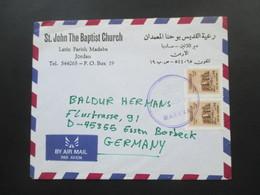 Jordanien 1992 Luftpostbrief Der St. John The Baptist Church Latin Parish Madaba Jordan Nach Essen Borbeck! - Jordanien