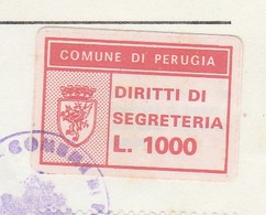 Perugia. 1992.  Marca Municipale Diritti Di Segreteria L. 1.000,  Su Certificato Di Residenza - Otros