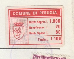 Perugia. 1984.  Marca Municipale Cumulativa L. 1.100,  Su Certificato Di Residenza - Otros