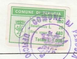 Perugia. 1992.  Marca Municipale Cumulativa L. 1.000,  Su Certificato Di Residenza - Otros