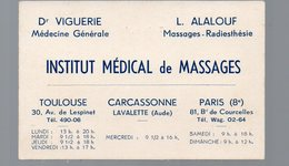 Toulouse Carcassonne Paris ; INSTITUT MEDICAL DE MASSAGES Viguerie Alalouf 1938 (PPP14757) - Publicités