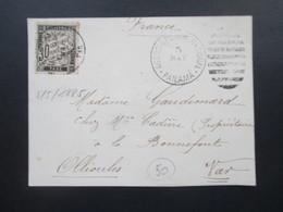 Panama 1885 Stempel Agencia Postal Nacional Panama Briefstück Mit Franz. Portomarke Nr. 18 Großes Briefstück / Vordersei - Panama