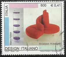 ITALIA REPUBBLICA ITALY REPUBLIC 2001 DESIGN ITALIANO FIORIERA VERNAZZA DIVANO TATLIN LIRE 800 USATO USED OBLITERE' - 1991-00: Usati