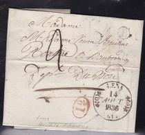 France, Pas De Calais - Càd 11 De Lens Sur LAC De 1836 Avec Boite B De Harnes, Indice 13 - Postmark Collection (Covers)