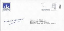 ENTIER POSTAL PAPR - POSTREPONSE ECOPLI - Fondation Recherche Médicale 142064 - Ciappa Kavena - Entiers Postaux