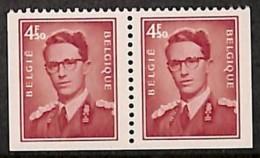 D- [205353] **/Mnh-BELGIQUE 1972 - N° 1659e, 4F50 'lunettes', Paire, ND à Gauche, Droite Et Bas, Dynastie - Belgique
