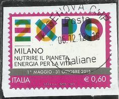 ITALIA REPUBBLICA ITALY 2012 EXPO ESPOSIZIONE UNIVERSALE MILANO 2015 NUTRIRE IL PIANETA ENERGIA PER LA VITA USATO USED - 6. 1946-.. Republic