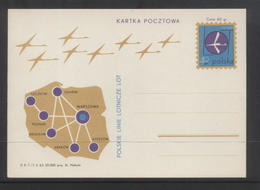 POLAND 1963 35TH ANNIV POLISH AIRLINE LOT SET OF 2 PC POSTAL STATIONERY MINT Cp 237 - 238 FLIGHT PLANES AIRPLANE - Polen