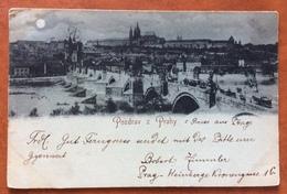 PRAGA POZDRAV Z PRAHY  IL PONTE CARLO  VIAGGIATA IL 3/1/1896 - Repubblica Ceca